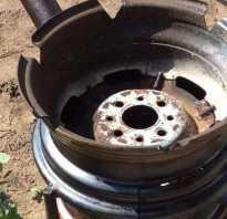 Печь из колёсных дисков на дровах и отработке