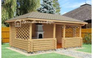 Строительство деревянной беседки в виде сруба с двускатной крышей