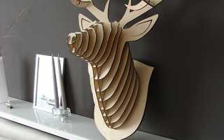 3D голова оленя из фанеры. Шаблоны для выпиливания