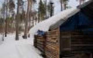 Строительство домика для охотника в тайге