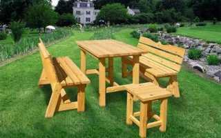 2-в-1. Изготовление дачного стола с лавками своими руками